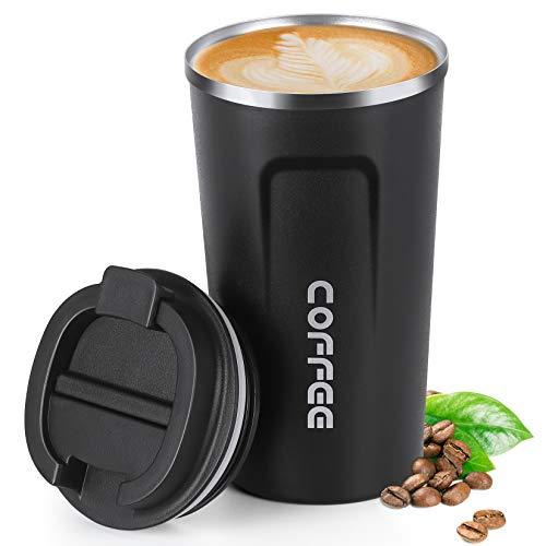 510 ml Trinkflasche Edelstahl, Smilatte Auslaufsichere Thermobecher Thermosflaschen Kaffee to go Becher Tassen Kaffeebecher Wasserflasche mit Deckel, schwarz