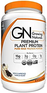 Growing Naturals | Organic Premium Plant Based Protein, Pure Rice Protein Powder | Vanilla Blast | Non-GMO, Vegan, Gluten-...