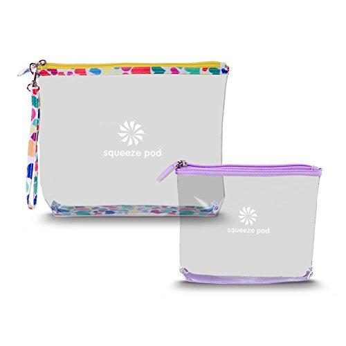 Squeeze Pod Clear Travel Toiletry 2 Bag Bundle - 1 TSA Approved Clear Quart Size Bag w/Purple Trim + 1 Clear Hanging Bag w/Heart Trim. Built to Survive Tough Travel. (CTBMSHP)