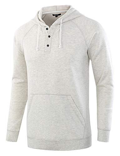 Estepoba Men's Casual Long Sleeve Henley Sweatshirt Knit Fleece Hoodie Pullover Heather Oatmeal S