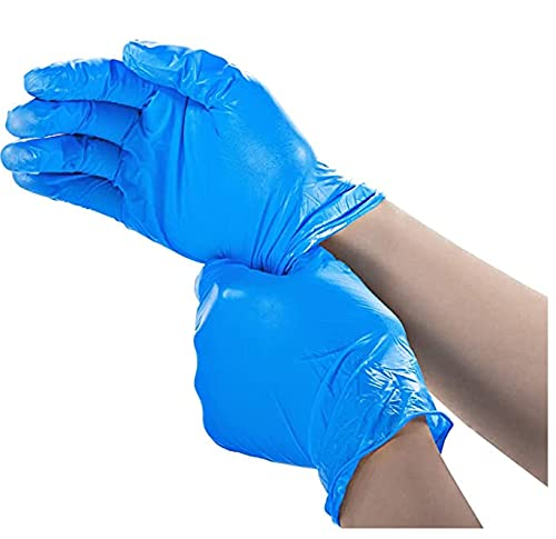 Newsmy Disposable Vinyl Exam Gloves 100Pcs,XL Size,Cleaning Gloves,Food Service Gloves,Powder Free,Latex Free,Non-Sterile for All Purposes Gloves,Blue