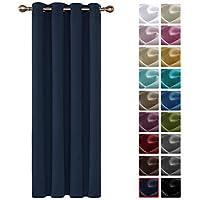 cortinas rayas en azul marino