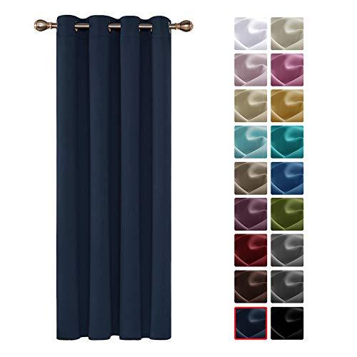 Deconovo Cortinas Dormitorio Moderno Blackout Curtain Suave para Ventanas de Habitación Juvenil con Ojales 1 Pieza 140 x 260 cm Azul Marino