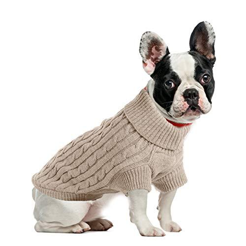ubest Hundepullover, Sweater Gestrickter Pullover für Kleine Hunde, Hunde Pullover Katzenpullover für Herbst Winter, Beige, XS