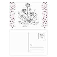 黒の白い花咲くタンポポ クリスマスの花葉書を20枚祝福する