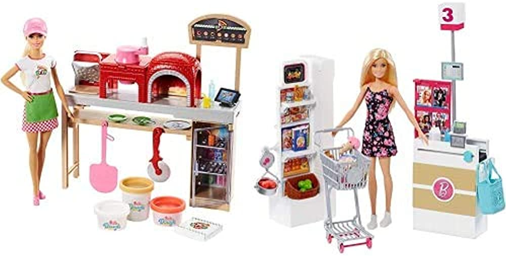 barbie la pizzeria + barbie al supermercato fhr09+frp01