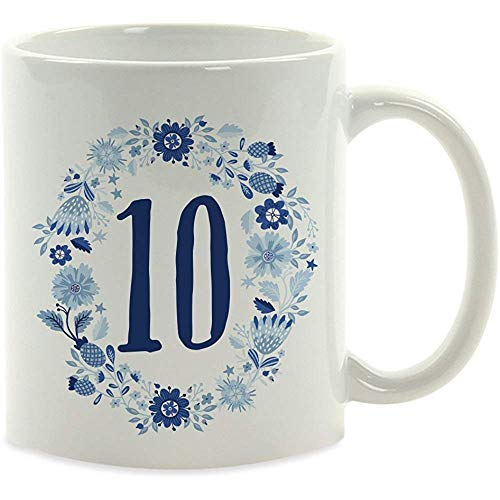 Milestone Birthday Coffee Cup Gift, 10, Blue Floral Wreath Graphic, 1-pak, 10th Birthday God Daughter Niece Friend cadeau-idee voor u