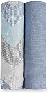 aden + anais Ziggy Soft Bamboo Muslin Swaddles 2 Pack, Blue, 2 Count
