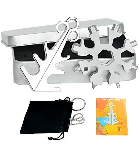 18 in 1 Edelstahl Schneeflocke Multi Tool, Gadgets für Männer Weihnachtsgeschenke (Silber-2)