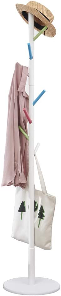 Vicllax Coat Rack Stand 8 Hooks Wood Clothes Rack Stand Hanger Free Standing Hall Tree (Colorful)