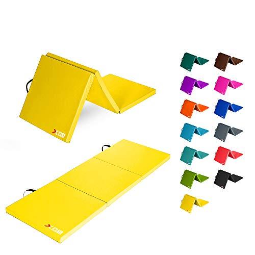 Xn8 Pieghevole Yoga Tappetino Tri-Fold materassi ginnastica con Trasportare le Cinghie materassino palestra per Palestra Pilates Aerobico Fitness Allenamento Esercizi 180cmx60cmx6cm