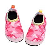 Baby Boys Girls Water Shoes Infant Barefoot Quick -Dry Anti- Slip Aqua Sock for Beach Swim Pool Camouflage - Pink/5.5-6 Toddler