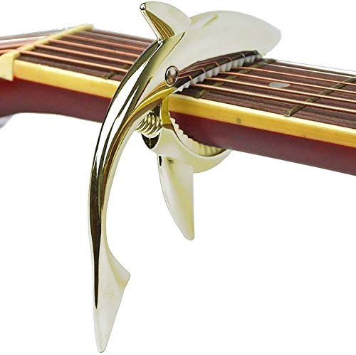 Zinc alloy guitar tuner, Shark capo transponders, used for acoustic and electric guitars, folk songs, ukuleles, mandolins, banjos, music tools 4, 6 and 12 string instruments (Gold)