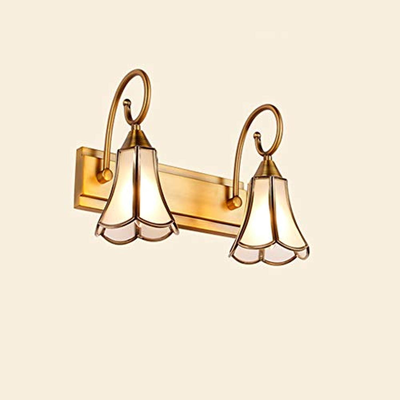 SXFYWYM Retro Spiegel-Licht-LED Badezimmer-Schlafzimmer-einfacher Eitelkeits-Spiegel-Kabinett beleuchtet Beleuchtung,Brass,35cm