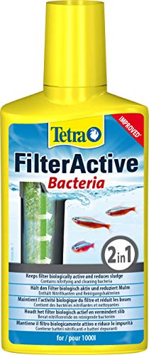 Tetra FilterActive Bacteria - 2in1 Mix aus lebenden Starterbakterien und schlammreduzierenden Reinigungsbakterien, hält den Filter biologisch aktiv und reduziert Mulm, 250 ml