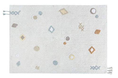 Lorena Canals Waschbarer Teppich Kim Weiß, Vanilla, Hellblau, Grau, Natural, Beige -100% natürliche Baumwolle Base: recycelte Baumwolle- 200x140 cm