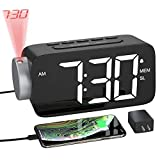 YISSVIC Projection Alarm Clock Radio Digital Alarm Clocks for Bedrooms 6.3' Screen Led Clock with USB Charger 4 Dimmer 12/24 Hour Switch 180° Rotation Projection on Ceiling Wall
