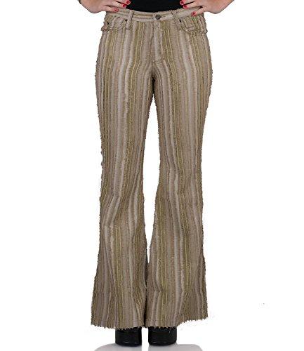 COMYCOM Bohemian strepen Cordschlag broek beige groen
