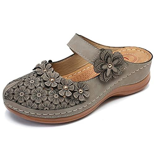 JHGF - Pantofole da donna con zeppa, stile retrò, comode, con fondo piatto, testa rotonda, morbida, casual, slip on