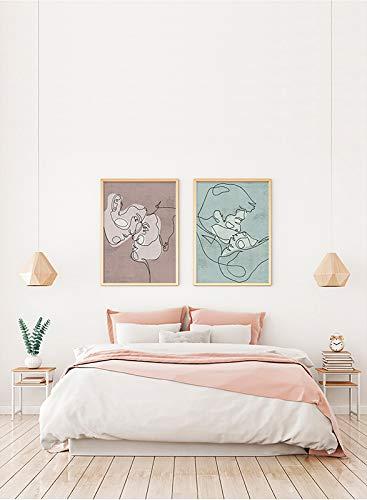 MILUKA Confezione 2 Poster da Incorniciare per Decorazione de Parete per Quadro | Poster di Stilo Minimal, Moderno Love Draw | Feel The Love - Touch The Love | 50x70cm