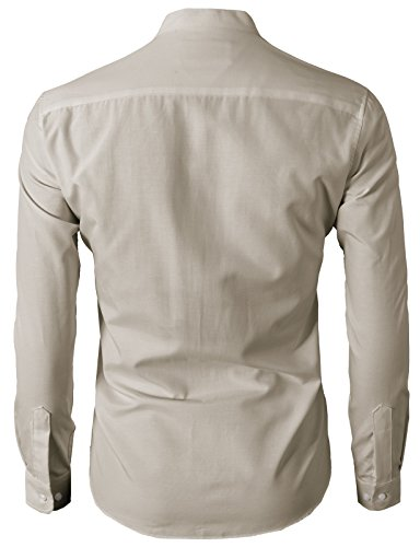 H2H Men's Casual Slim Fit Oxford Mandarin Collar Button-Down Shirt with Pocket Beige US L/Asia 2XL (KMTSTL0501)