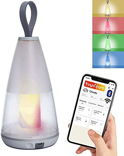 Smart LED Akku Tischlampe für Außen und Innen - Tischleuchte batteriebetrieben - IP54 Outdoor Lampe LED Lampe App gesteuert - RGBW, Bluetooth - Nachttischlampe mit Smartphone Steuerung Tuya