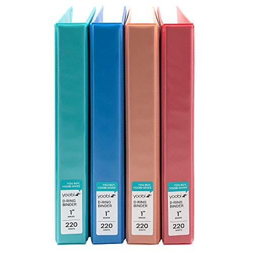 Yoobi | 3-Ring Binders | 1 Inch D-Ring | Solid Multicolor Variety Pack of 4
