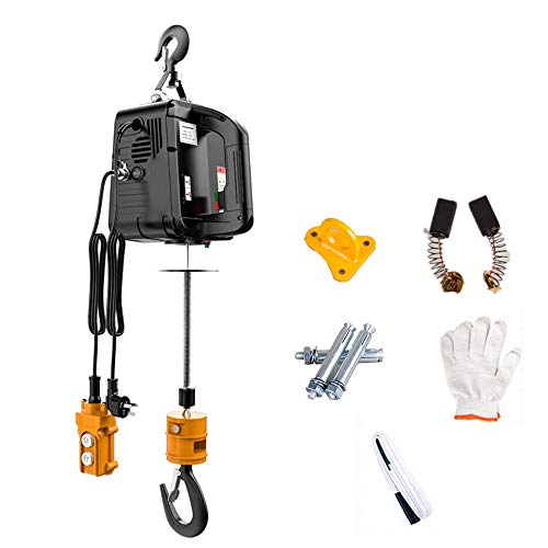 Lift Electric Hoist Crane Wire Remote Control 110V, 1500W 7.6m/25ft Zinc-Plated Steel Wire Overhead Crane Garage Ceiling Pulley Winch with Premium Straps and Emergency Stop Switch Black Color (500kg)