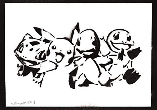 Poster Pokemon Handmade Graffiti Street Art - Artwork