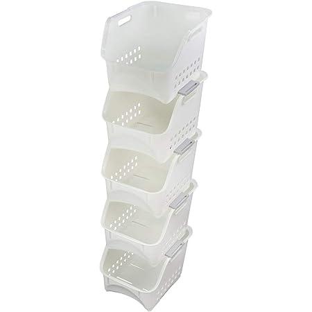Neadas 5 Tiers Plastic Stacking Storage Baskets for Kitchen