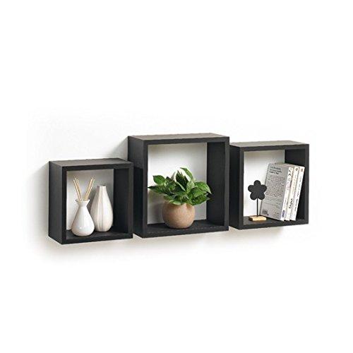 Modul'Home 6RAN789BC - Mensole a cubo, in MDF, 11,8 x 30 x 30 cm, pannello MDF, nero, 3 taglie 23 cm/26,5 cm/30 cm, 2 Unità