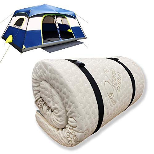 """Foamma 3"""" x 28"""" x 72"""" High Density Roll-Up Camping Mattress, CertiPUR-US Certified Foam, Organic Cotton Cover, Made in USA, Portable and Comfortable"""