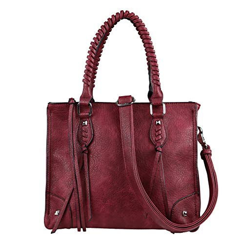 Concealed Carry Weapon Purse - YKK Locking Amy Studded Satchel by Lady Conceal (Burgundy)