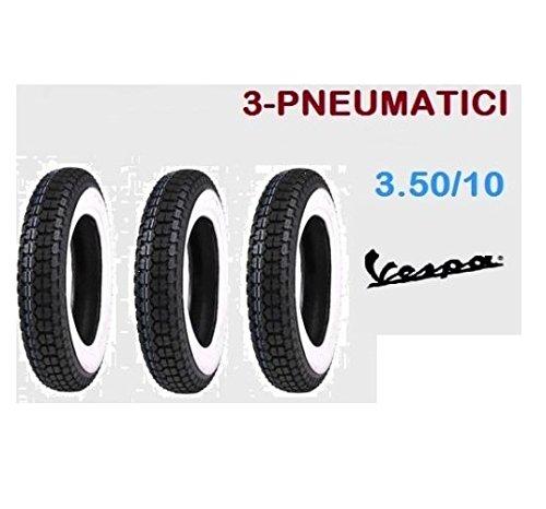 3 PNEUMATICO GOMME COPERTONE PIAGGIO VESPA PX 125 150 200 FASCIA BIANCA 3.50.10