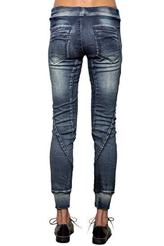 Women's Drawstring Denim Knit Skinny Joggers Pants 6