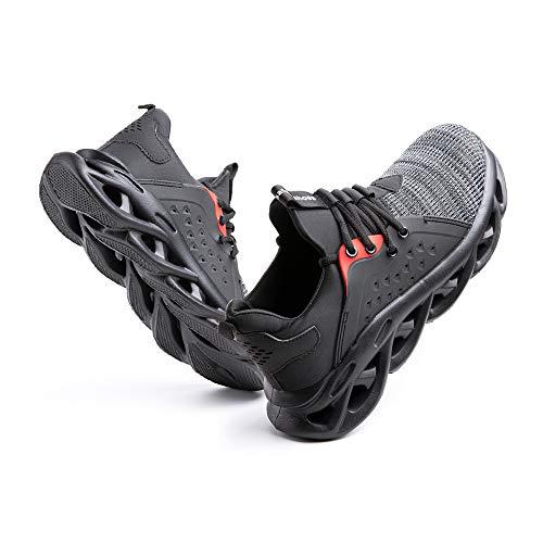 Sicherheitsschuhe Herren Arbeitsschuhe Damen Leicht Sneaker Sportlich Stahlkappe Schutz Stahlkappe Turnschuhe Wandern Stiefel Mesh G-Grau EU44