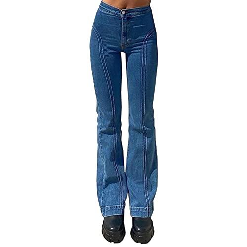WDBK Denim Pantalon évasé Y2K Mode Femme Street Street Retro Girl Girl Girl La Ligne de Division était Mince Pantalon évasé Jeans évasés, Bleu, 3 Tailles