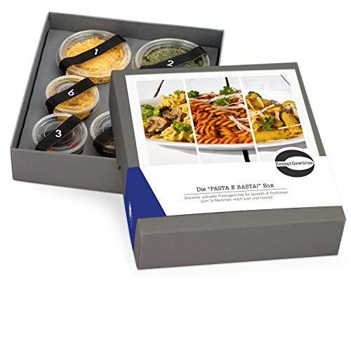 """Gewürze Geschenkset """"PASTA E BASTA"""" - Gewürzbox zum selbst Kochen als Geschenk - inkl. Kochanleitungen für 3 Pasta Rezepte - mit exotischen und BIO Gewürzen"""
