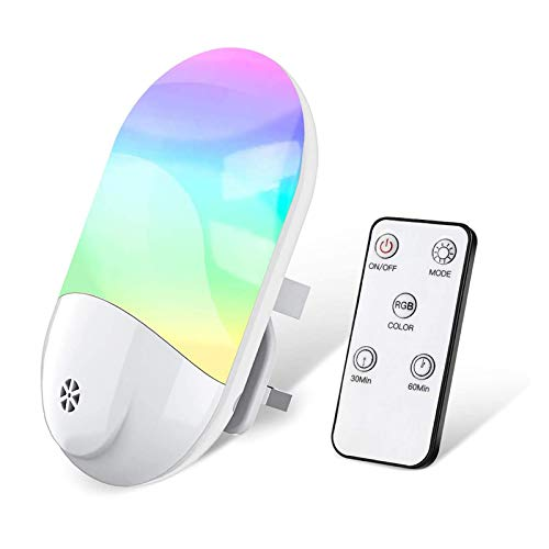 LED Night Lights Plug in Wall, VISLAN Smart Remote RGB Plug-in Night Light...