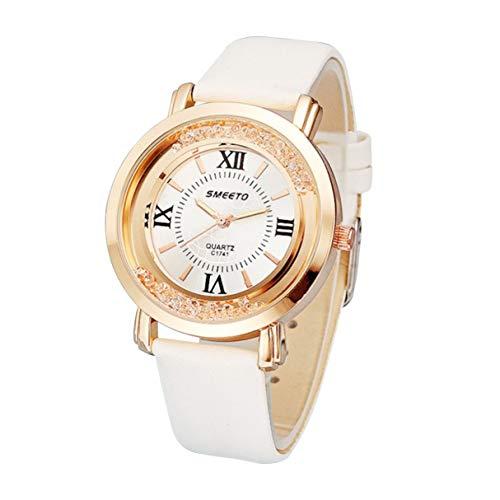 Morninganswer Reloj de cuarzo para mujer con correa de piel fina, resistente al agua, estilo casual, con decoración de diamantes de imitación
