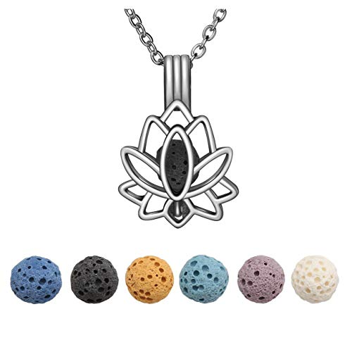 JOVIVI Silver Lotus Flower Lava Stones Aromatherapy Diffuser Necklace Essential Oil Diffuser Locket Pendant Jewelry set for Women with 6 PCS Lava Rocks,24' Lobster Chain