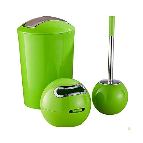 NYKK Escobilla WC El baño Creativo, Inodoro, Inodoro, Cepillo, Conjunto, manija Larga, Cepillo de Bola, Bote de Basura y Caja de pañuelos 7 Colores Escobillas de Baño (Color : Green)
