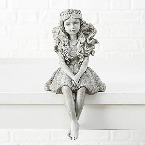 CasaJame Hogar Jardín Decoración Accesorios Adornos Esculturas Estatua en Forma de Duende Hada Alada Sentado Magnesio 21x18x39cm