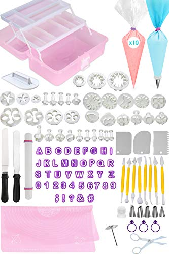 FONDANT TOOLS CAKE DECORATING SUPPLIES - 123pc baking kit, Icing Piping Bags, tips, 2 offset spatula, letter and shape cutters, baking mat, rolling pin, pastry, cookie, cupcake & frosting accessories