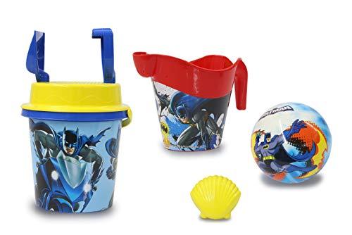 Jamara 410136 - Set per sabbiera, 7 pezzi con licenza ufficiale Batman, secchio, pala, rastrello, formine, annaffiatoio, palla, setaccio per sabbia, colore: Blu