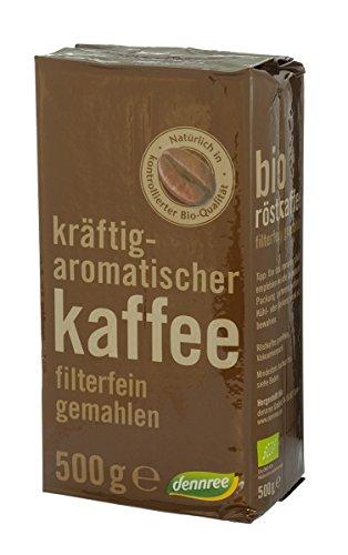 dennree BioMarkt kräuftig-aromatischer Röstkaffee filterfein gemahlen, 500 g - Bio