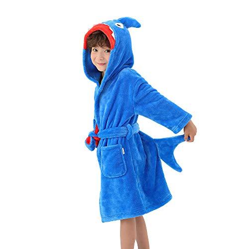 LOLANTA Kinder Hai Bademantel, Jungen und Mädchen Fleece Tier Bademantel mit Kapuze