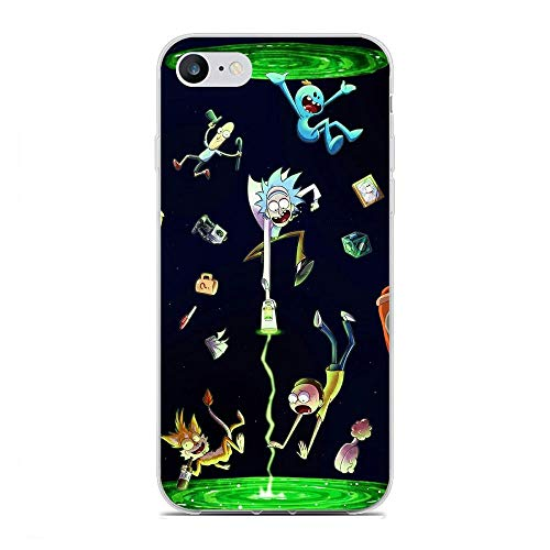 KeepAAA Clear Coque Clear Coque Clair Chiaro Anti-Scratch Anti-Yellowing TPU Cover Flexible Soft Case for Apple iPhone 7/8/SE 2020-Rick-Morty Cartoon 5