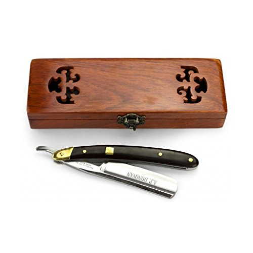 """A.P. Donovan - Professionelles Rasiermesser 7/8\"""" - Griff aus schwarzem Sandelholz (leicht zu schärfen, nicht rostfrei) - in einer Holzschatulle"""