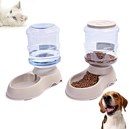 Comedero y Bebedero Automático para Perros y Gatos, 3.8Lx2 de Comida y dispensador de Agua para Mascotas Grandes o Pequeños (Transparente)